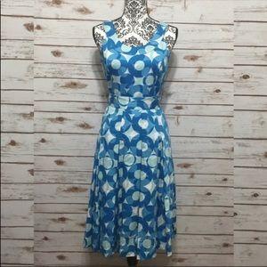 Calvin Klein blue and white pleated Midi dress